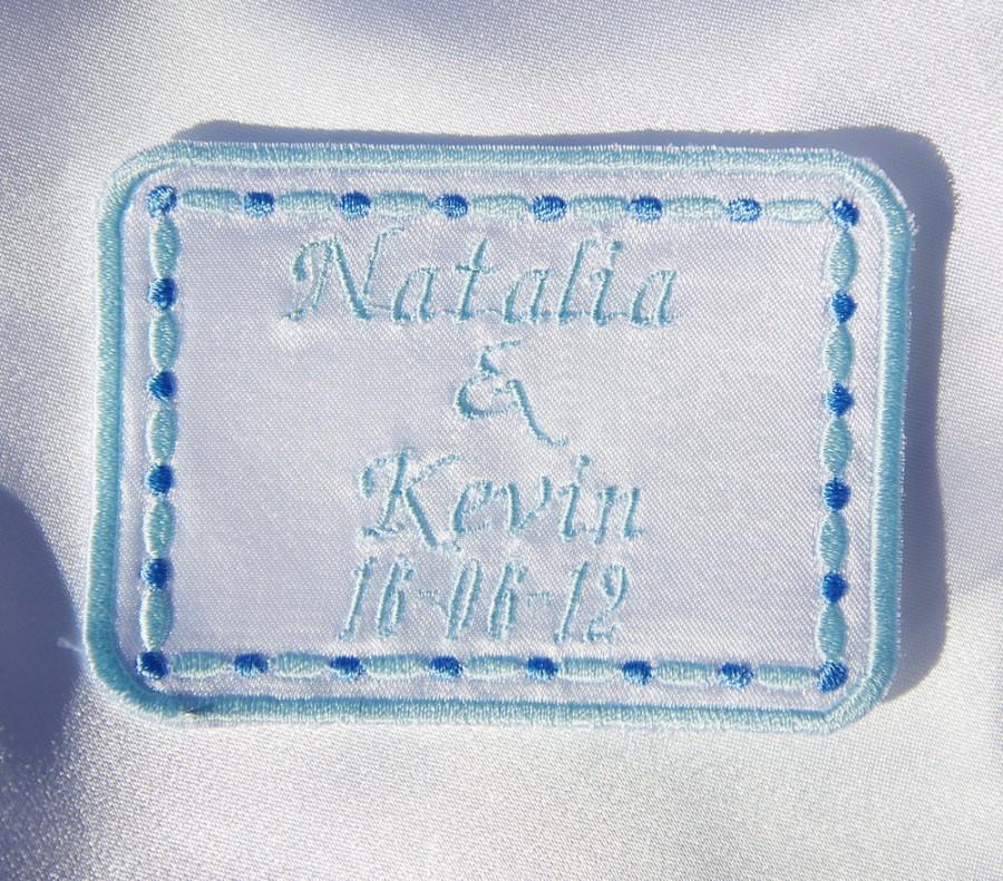 Mariage - Personalized Wedding Dress Label  rectangle White Satin by Natalia Sabins Custom Embroidered