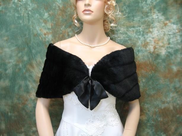 Mariage - Sale - Black faux fur bridal wrap shrug stole shawl Cape FW002-Black - was 49.99