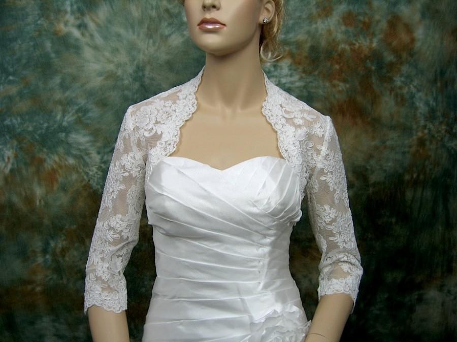 Mariage - Ivory 3/4 sleeve bridal shrug lace bolero wedding bolero jacket - made of alencon lace