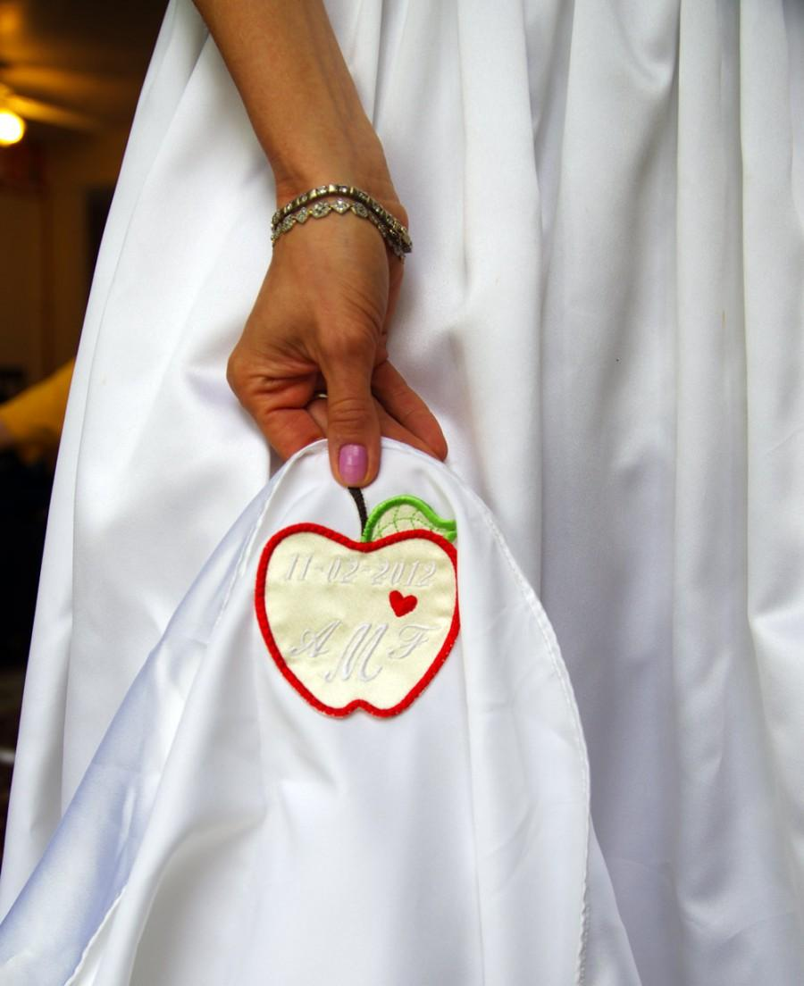 Mariage - Personalized Wedding Dress Label apple  Satin by Natalia Sabins Custom Embroidered