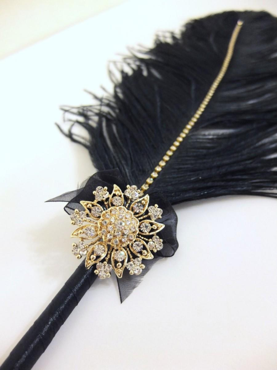 Mariage - Large Elegant Black Feather Pen with Gold Sunflower Brooch / Wedding Signing Pen / Guest Book Pen / Wedding Reception Accessories /