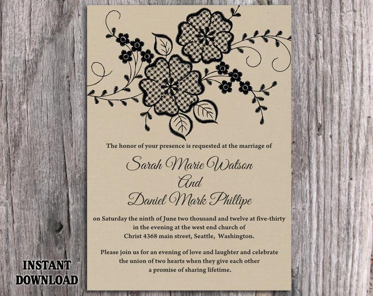 Wedding - DIY Lace Wedding Invitation Template Editable Word File Download Printable Rustic Wedding Invitation Burlap Vintage Floral Invitation