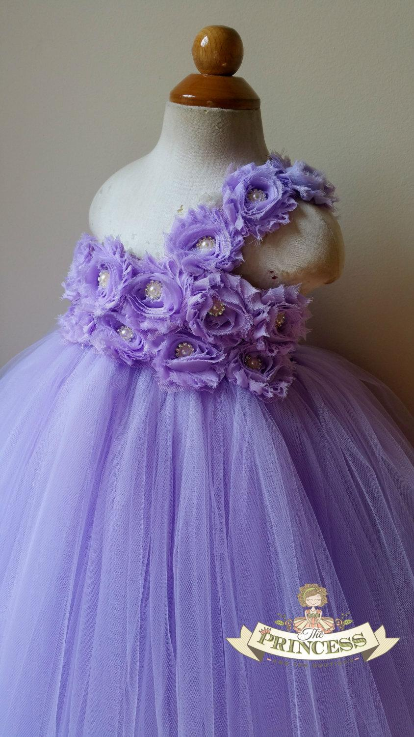 Mariage - Lavender flower girl dress, tutu dress, flower girl dress, baby dress, child dress, birthday outfit, vintage wedding, girl dress, wisteria