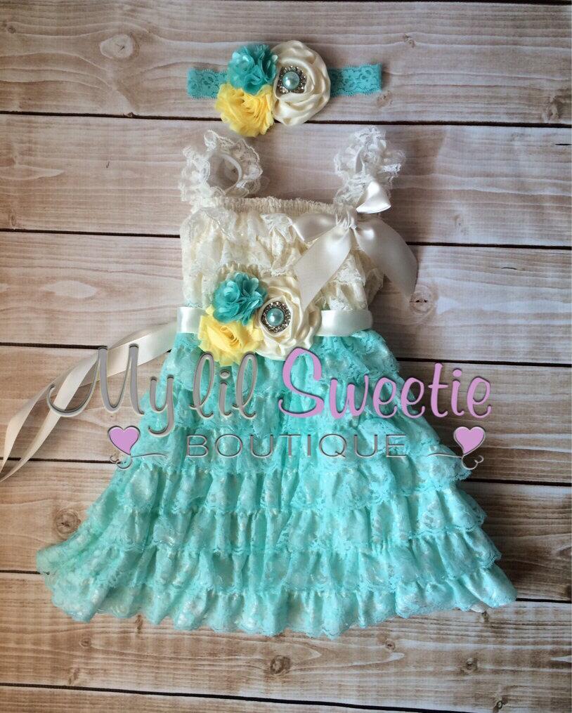 Light Aqua Ivory Yellow Dress, Sash , 3pc Set , Headband, Lace Dress ...
