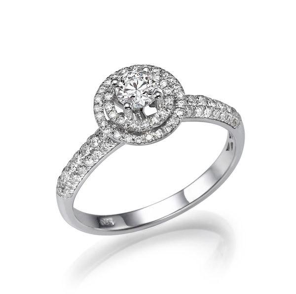 Double Halo Engagement Ring 14K White Gold Ring Halo Engagement
