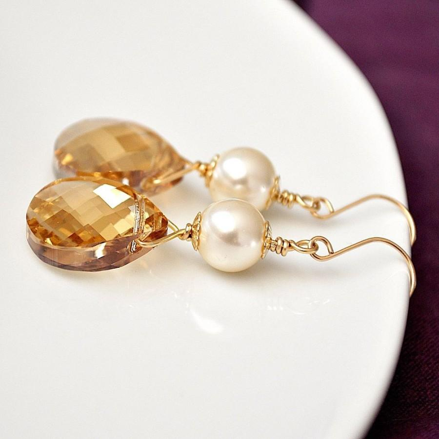 Bridemaid jewelry gold bridesmaid earrings golden for Jewelry for champagne wedding dress