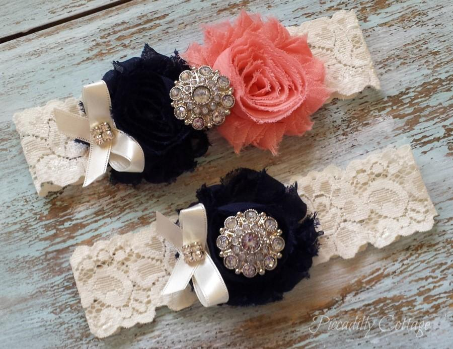 Свадьба - Navy and Coral Wedding Garter, Wedding Garter Set, Bridal Garter, Lace Garter, Custom Garter, Toss Garter Included