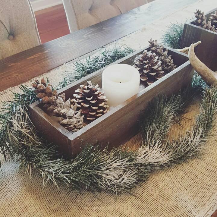 Rustic Planter Box Table Centerpiece Christmas Decor Wedding Home Setting