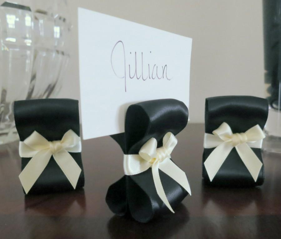 Mariage - Place Card Holders - One Hundred (100) with Black and Ivory Satin Ribbon - Customize Your Colors