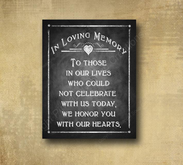 Mariage - In Loving Memory Wedding Sign - PRINTED chalkboard wedding signage - Rustic Heart Design