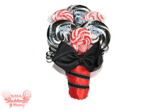 Mariage - Lollipop Bridesmaid Bouquet, Candy Bridesmaid Bouquet, Red Bouquet, Black Bouquet, Bridesmaid, Wedding, Maid of Honor, Bouquet, Candy