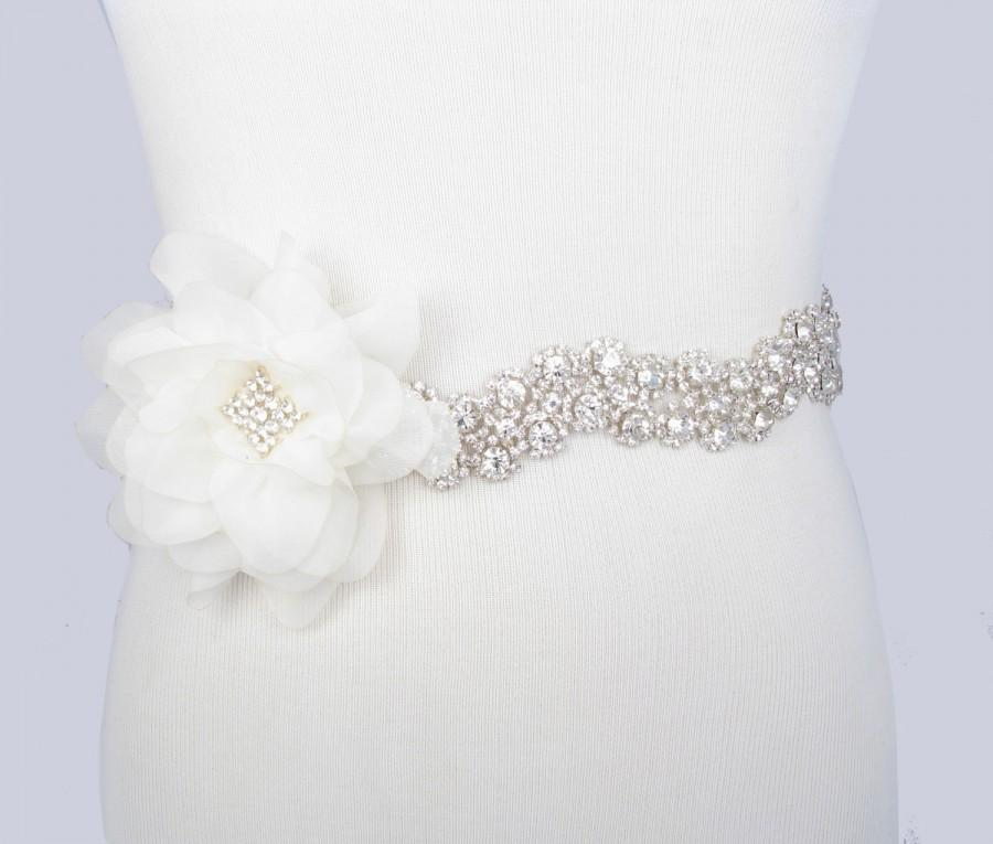 Wedding - Flower Wedding Dress Sash, Crystal Rhinestone Bridal Belt, Silver with Clear Rhinestones, Jeweled Beaded Sash, 35 Satin Ribbon Color Choices