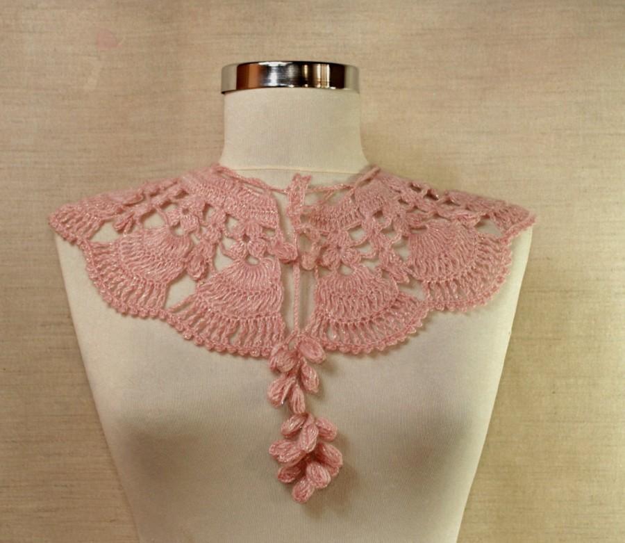 Wedding - Pink Crochet Lace Collar Glitter Wedding Wrap Collar Bib Neck Cuff Collar Scarf Romantic Bridal Necklace Bride Cape Women Neck Accessory