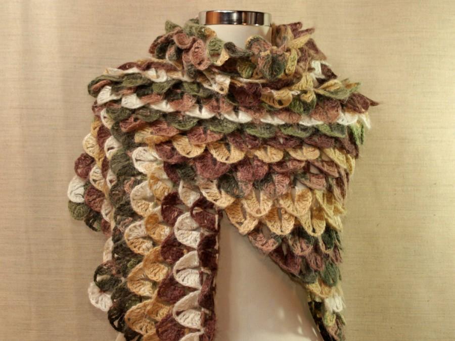Wedding - FREE SHIPPING / Crochet Shawl, Crochet Wrap, Triangle Shawl, Multicolor Shawl, Brown, Green, Beige, Mohair Crocodile Shawl, Shrug, Bolero