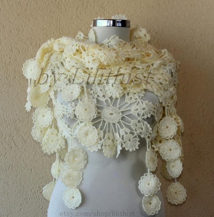 Crochet Lace Wedding Shawl Pattern : Ivory Shawl, Lace Shawl, Flower Shawl, Crochet Shawl ...