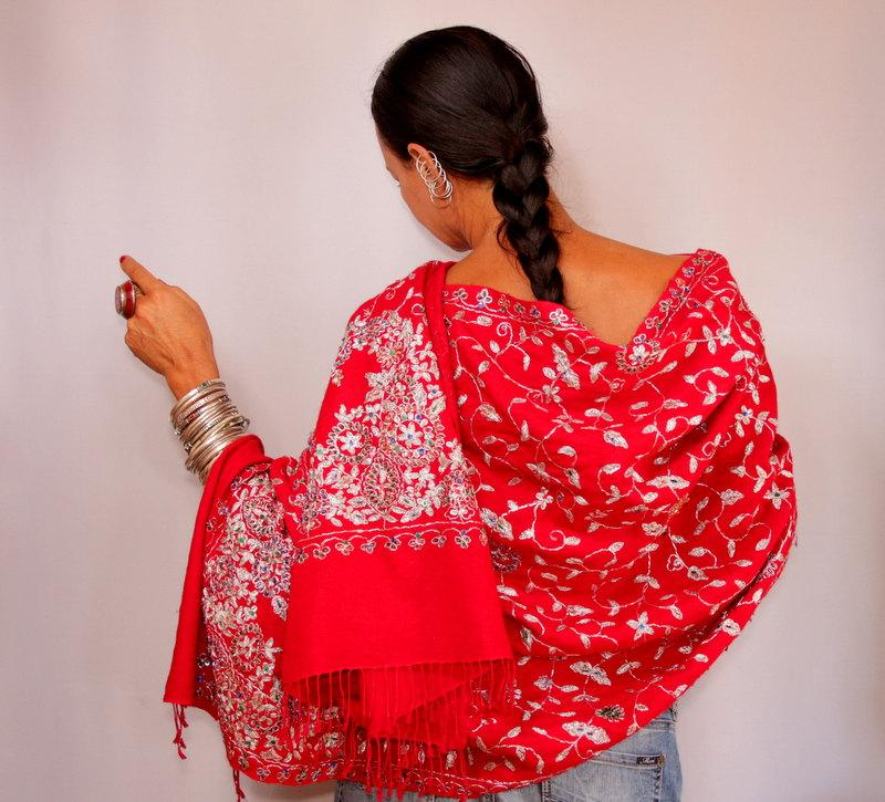 Wedding - Red Shawl Pashmina, Beaded Shawl, Bridal Shawl, Evening Shawl, Cover Up, Paisley Wool Pashmina Scarf, Crystal Wedding Shawl, Pashmina Wrap