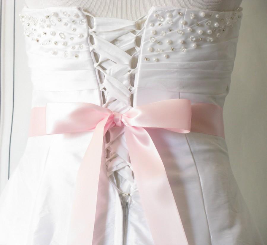"""Mariage - Light Pink Wedding Sash, Pastel Pink Double Sided Satin Sash, Bridesmaids / Flower Girl Sash, Plain Dress Sash, Bridal Belt, 1 1/2"""" inch"""