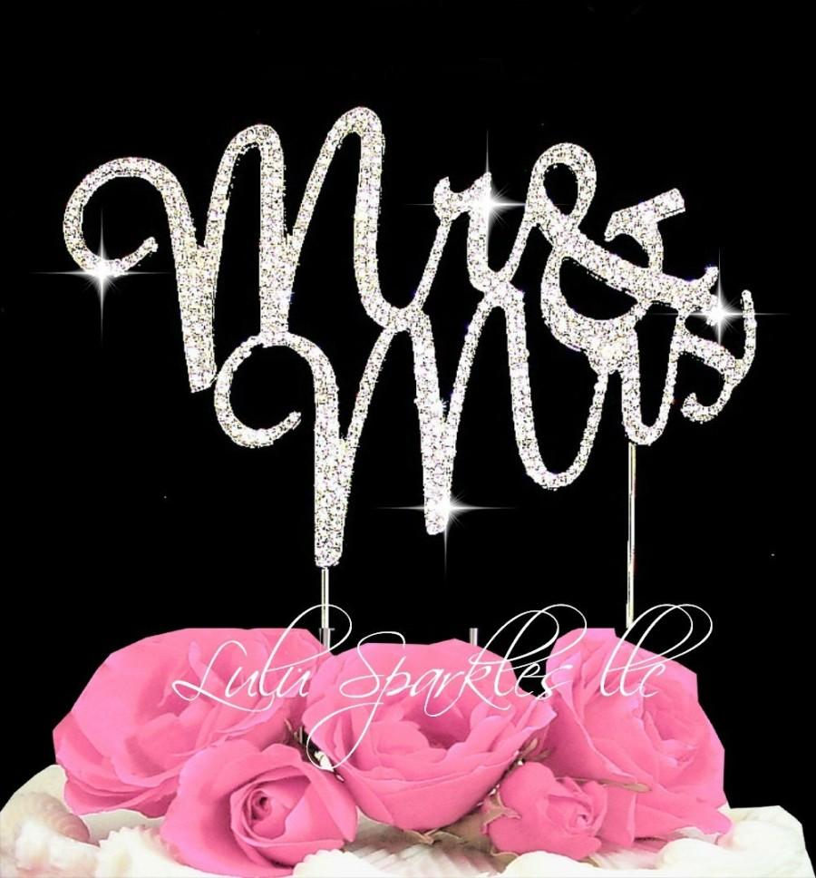 Wedding - Large Mr & Mrs Rhinestone Crystal wedding Cake Topper  Anniversary Wedding cake topper