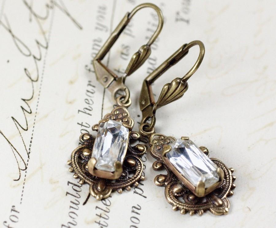 Свадьба - Bridal crystal earrings rhinestone vintage style brass victorian filigree elegant wedding bridesmaid jewelry