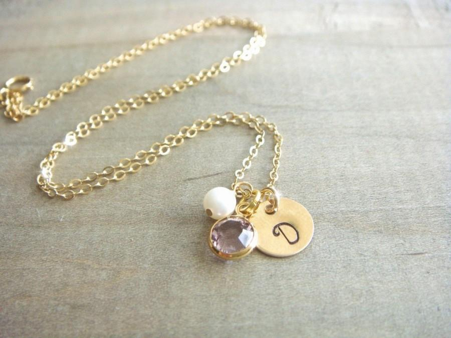 ecd5189f13db6 Personalized Hand Stamped Gold Filled Disk Necklace With Birthstone ...