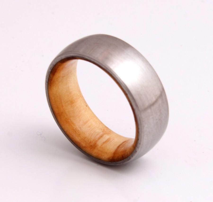 Titanium Ring Mens Wood Wedding Band With Titanium Ring Man Ring