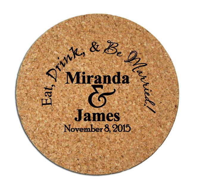 Свадьба - Wedding Favors Coasters 150 Round Cork Drink Coasters Custom Personalized Rustic Wedding Favor Winery Brewery Wedding Ideas