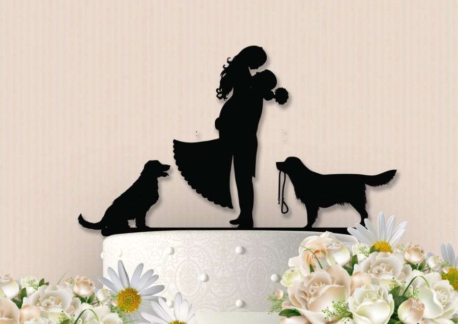 Свадьба - Cute Couple with Dogs Cake Topper
