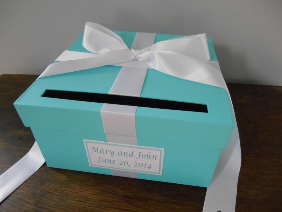 Свадьба - Aqua Malibu Blue Wedding Card Box with white Ribbon Bow and Personalized Tag Can Customize Colors