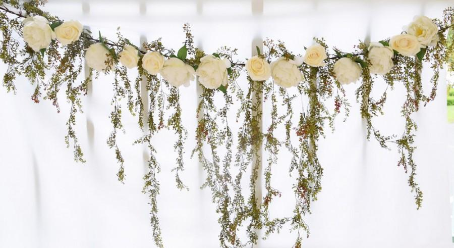Wedding Arch Garland With Cascading Spring Greenery And Roses Silk