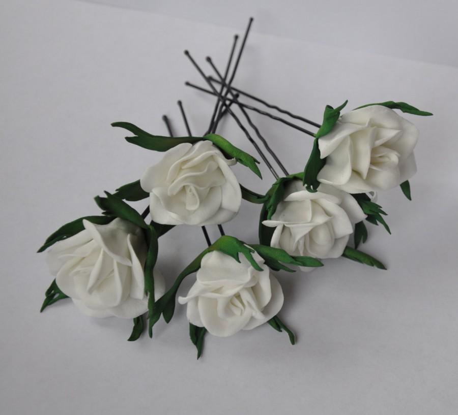 Wedding - Rose Hair Pins, Flower Hair Pins, Bridal Hair Pins, Woodland Wedding, Bridal Hair Accessories, Rose Hair Accessories. Set of 5 Hair Pins.