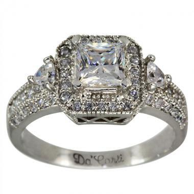 64eb78cc6e160 3/4ct Princess Cut In Vintage Engagement Ring With Round, Trillion ...