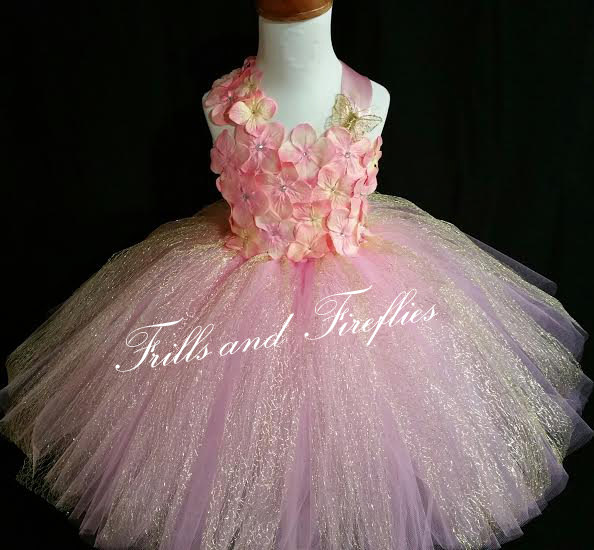 Mariage - Pink & Gold Flower Girl Dress- Flowergirl Dress, Gold and Pink Fairy Dress..OTHER COLORS AVAILABLE Size 1t, 2t, 3t, 4t, 5t, 6, 7, 8, 10