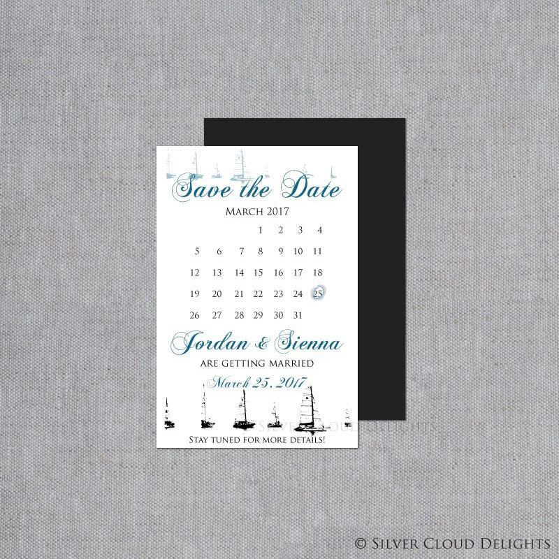 Mariage - Sailboat Save the Dates with Magnet Option - Nautical Wedding Magnets - Custom Calendar Save the Dates - Sailboat Wedding Announcements