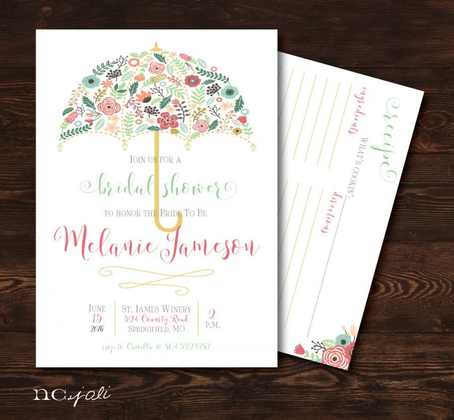 printable floral umbrella bridal shower invitation with optional recipe cardprint invite
