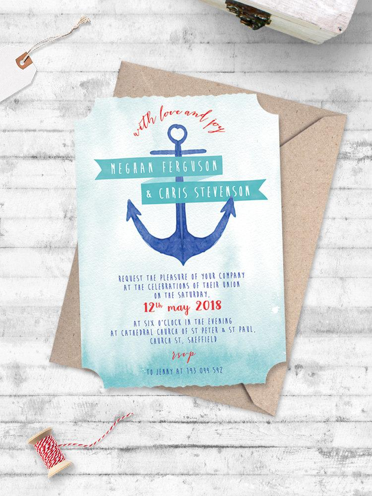 Watercolour Anchor Nautical Wedding Invitation Anchor Me