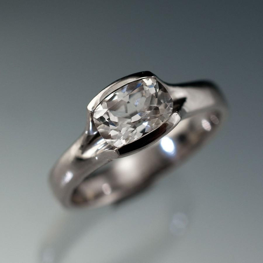 Lab Created Cushion White Sapphire Fold Solitaire Engagement Ring In  Sterling Silver, Palladium Or 14k Yellow Gold