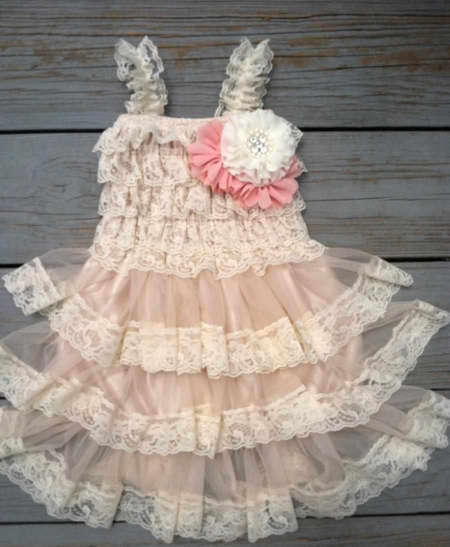Wedding - Lace Flower Girl Dress-Shabby Chic Flower Girl-Flower Girl-Country Wedding-Pinky Blush Flower Girl Dress- Mauve Shabby Chic Dress
