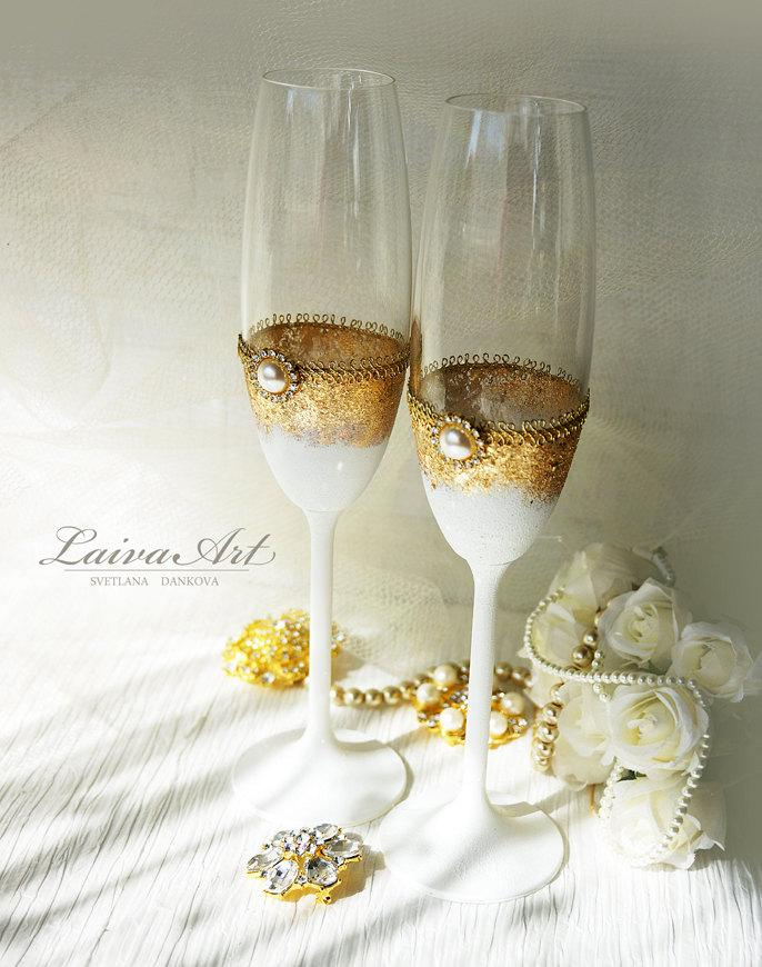 Mariage - Gold Wedding Champagne Flutes Wedding Champagne Glasses Gatsby Style Wedding Toasting Flutes Gold and White Wedding