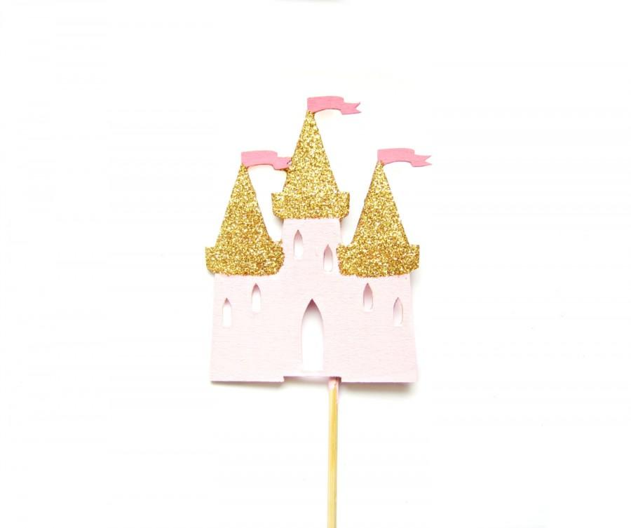 Pink Gold Princess Castle Cake Topper Girls Birthday Cake