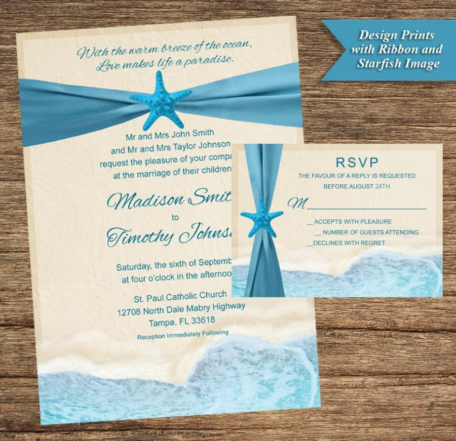 Mariage - Beach Invitation and Respond Card BCH-01-INV-RC-Digital Download