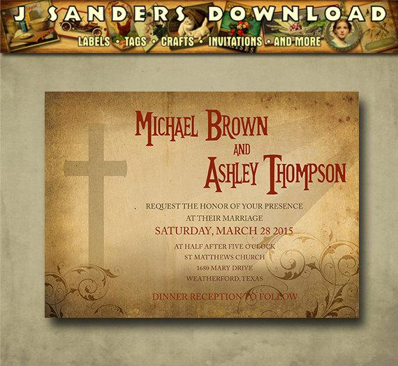 Mariage - 021 Christian Themed Wedding Invitation with Cross, Religious Invitation, Rustic, Victorian Country Wedding
