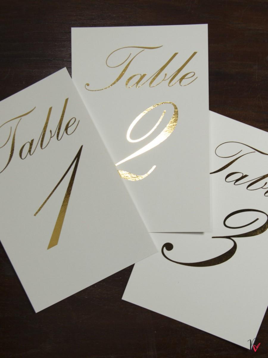 Mariage - Gold Foil Table Numbers / Names Set - Personalised Gold Table Numbers / Names - Wedding Table Numbers with Gold Foil by Paper Charms