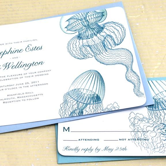Mariage - Jellyfish Wedding Invitations, Beach Wedding Invitations, Aquarium Wedding Invitations, Ocean Wedding Invitations - Sample set