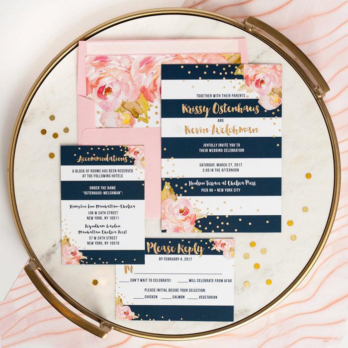 Mariage - WEDDING INVITATIONS Wedding Invitation Set 3 Piece Wedding Suite Wedding Invites Wedding Invite Suite Printed or Printable Wedding - Krissy