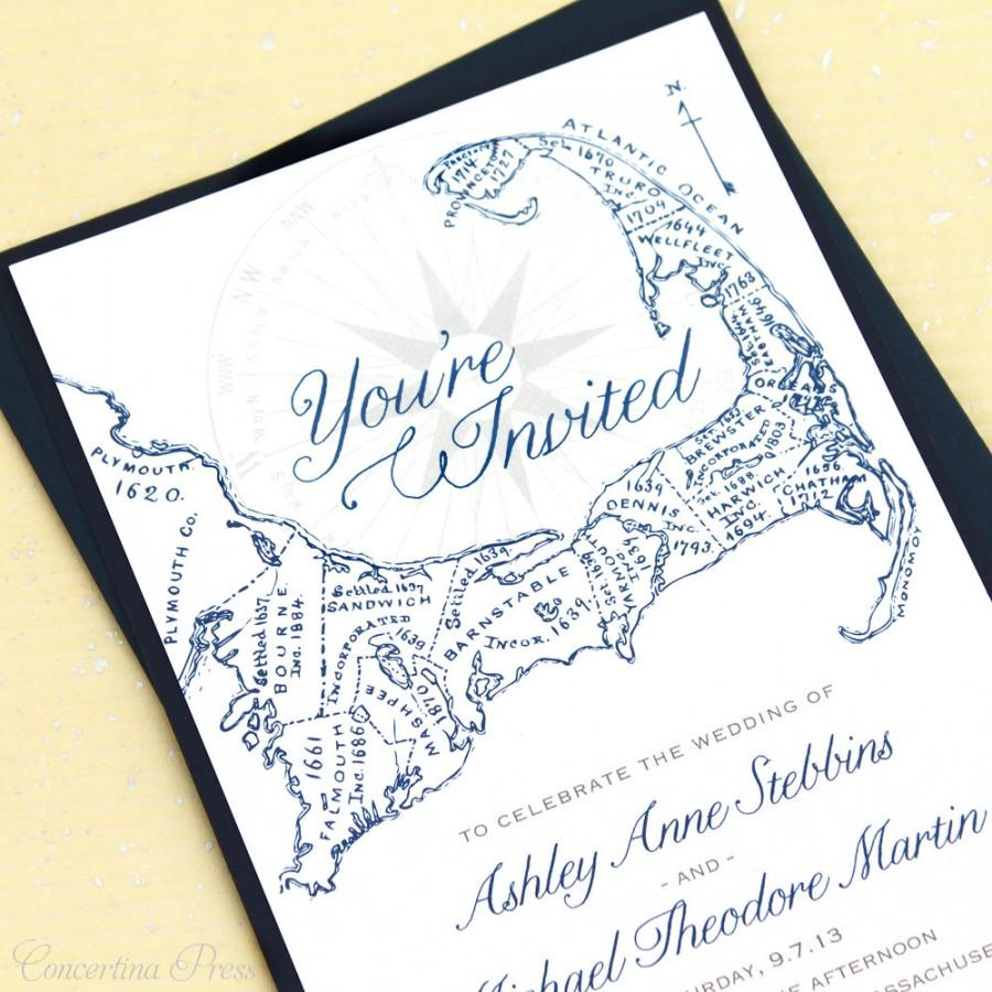 Cape Cod Wedding Invitations, Cape Cod Map Invitations #2465259 ...