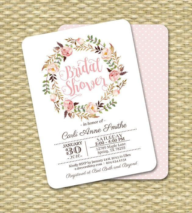 Mariage - Bridal Shower Invitation Printable Invitation or Printed Watercolor Roses Bridal Brunch Bridal Tea ANY EVENT