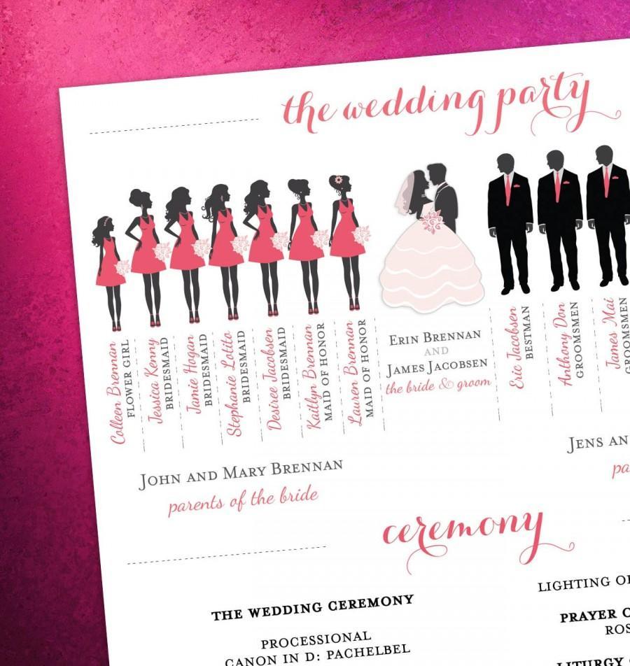 Mariage - Modern Day Wedding Program – Bridal Party Silhouettes (DIGITAL FILE)