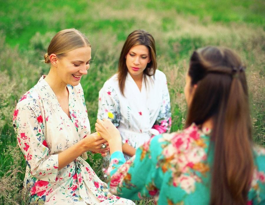 زفاف - 5 Custom bridesmaid robes or bridal party robes in cotton. Bridesmaid gift robes, bridal kimonos, dressing gowns and wedding robes