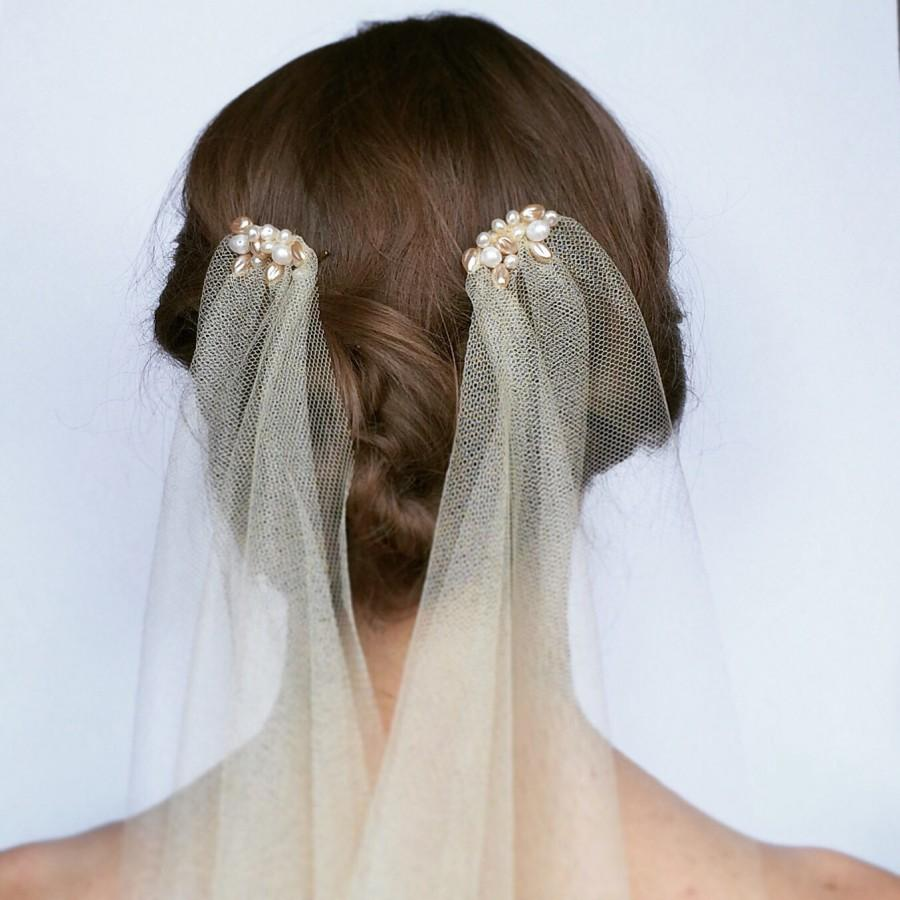 Pearl drape wedding veil 1920s style wedding veil for Veil for champagne wedding dress