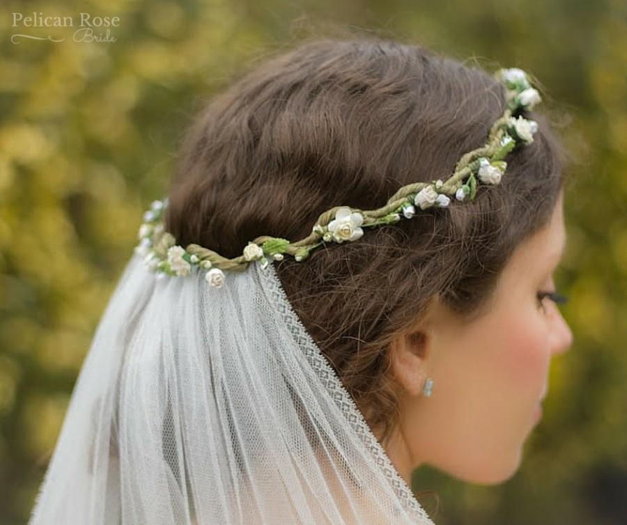 boho bridal flower crown and detachable veil pelican rose bride bohemian flower halo. Black Bedroom Furniture Sets. Home Design Ideas